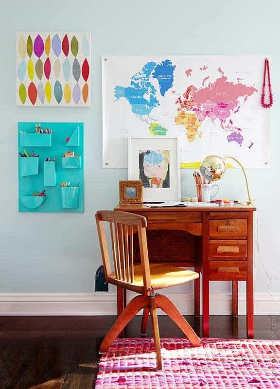 desk area, vintage