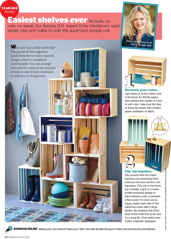 Redbook Magazine - DIY Crate Shelf