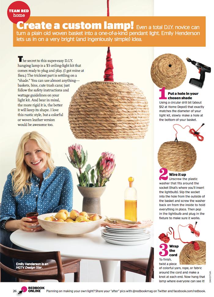 Redbook Magazine - DIY Basket Pendant Light