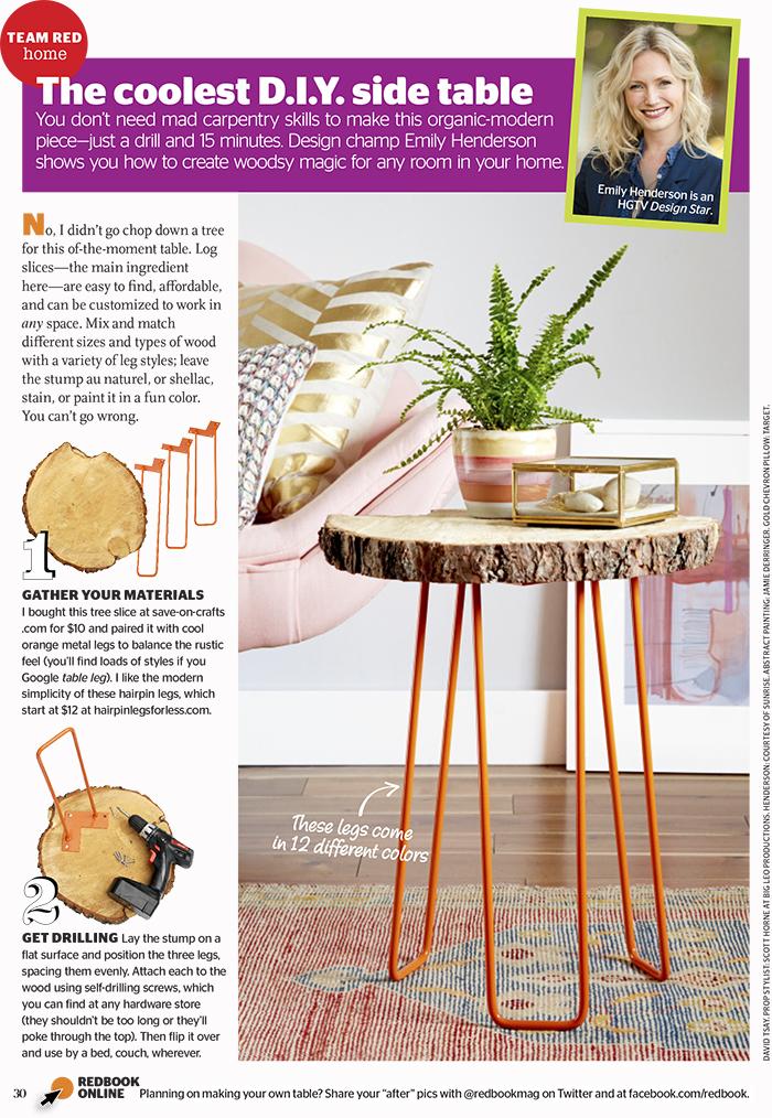 Redbook Magazine - DIY Tree Slab Side Table