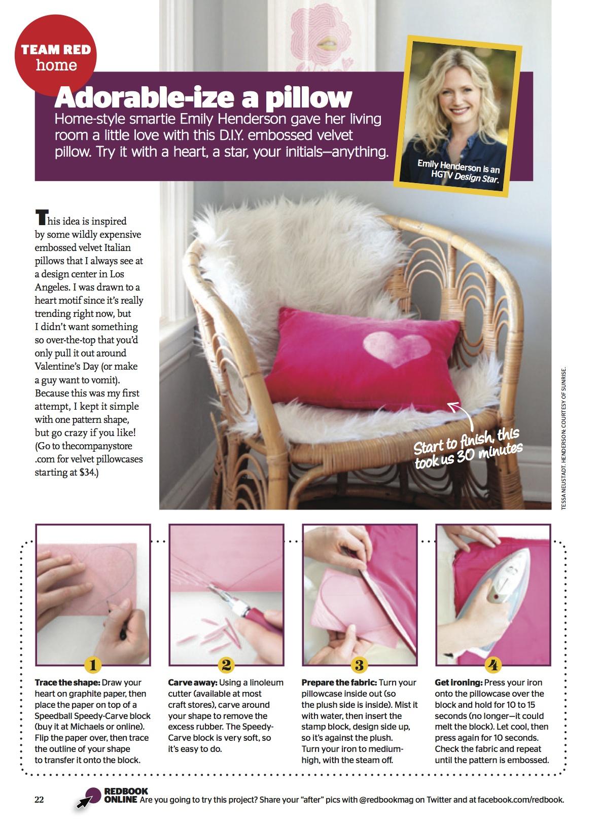 Redbook Magazine - DIY Embossed Velvet Pillow
