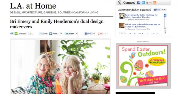 LA Times: Bri Emery and Emily Henderson's Duel Design Makeover