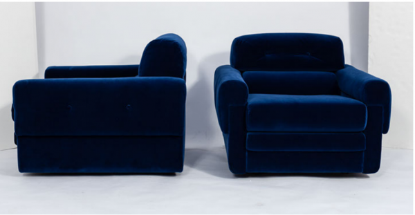 80's blue club chairs