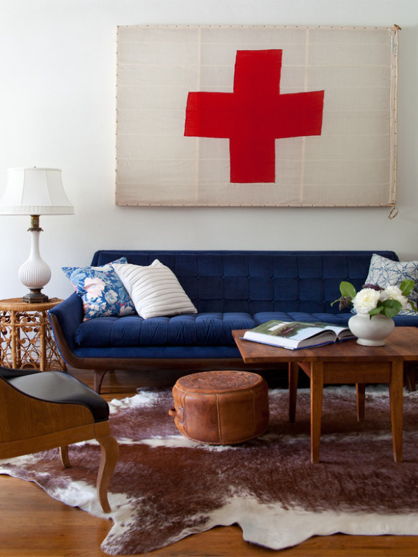 Living Room with Blue Couch by Emily Henderson