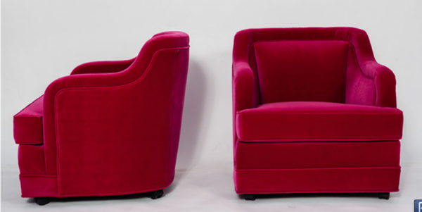 vintage hot pink club chair