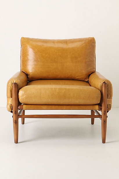 anthropologie leather safari chair