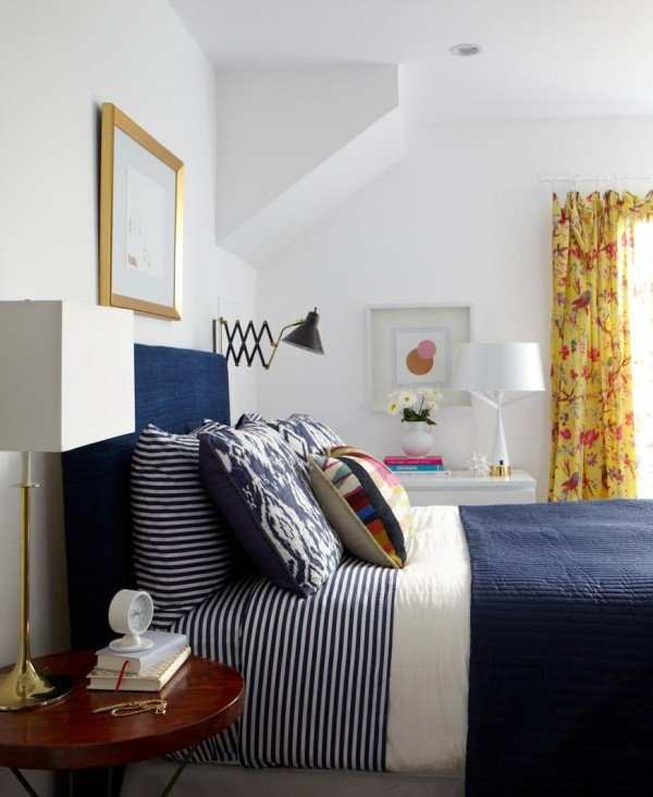 yellow and navy bedroom