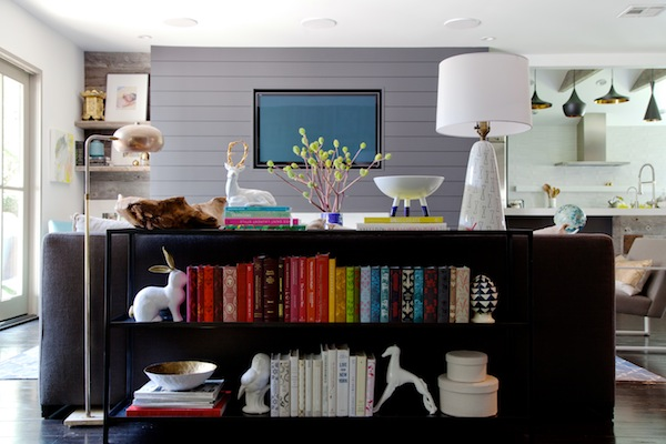 styled bookshelves