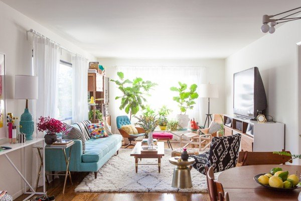mid-century bright living room