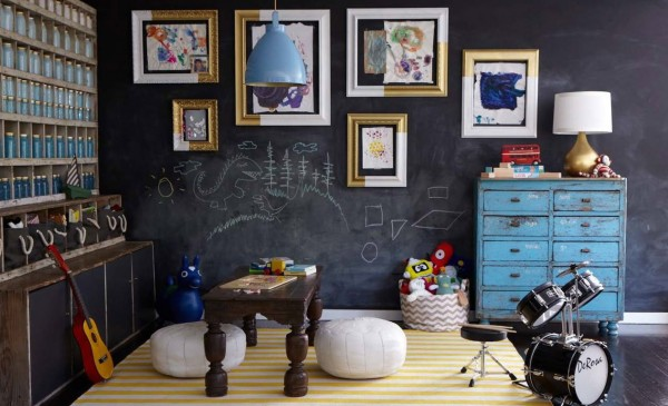 yellow and teal playroom