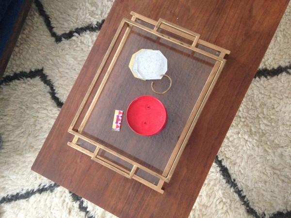 vintage modern brass tray