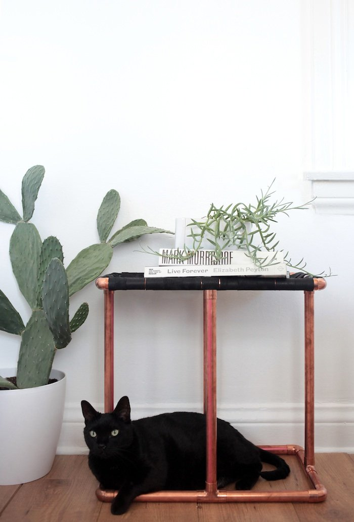 Customize It: Leather and Copper Side Table