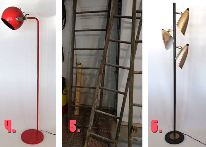 Minneapolis Craigslist Vintage floor lamps and orchard ladder