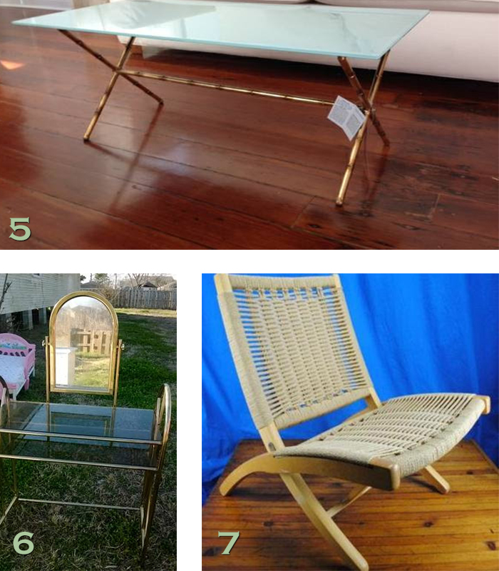 NOLA craigslist MCM chair glass table brass vanity