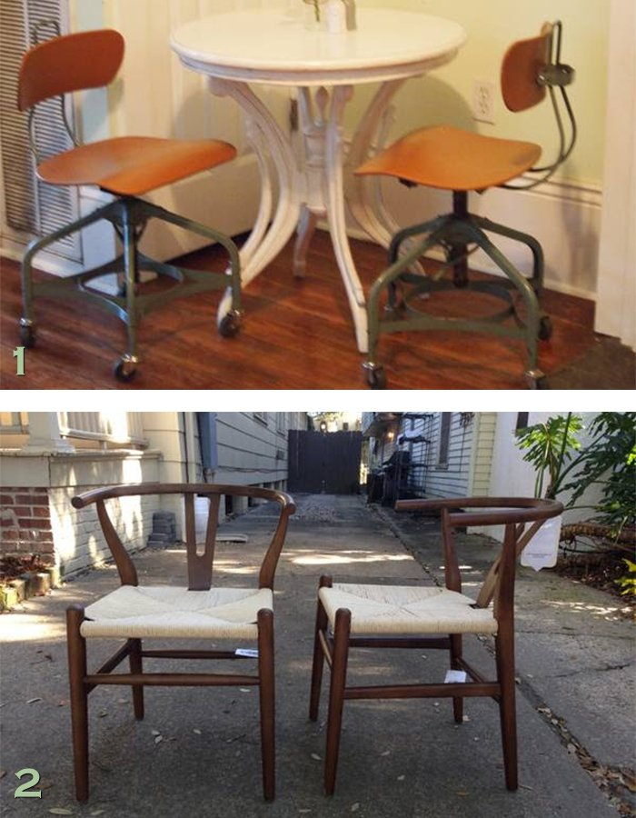 NOLA craigslist industrial stools nd MCM chairs