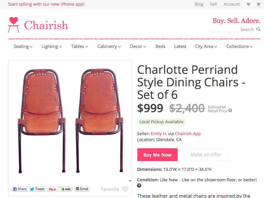 leather charlotte chair