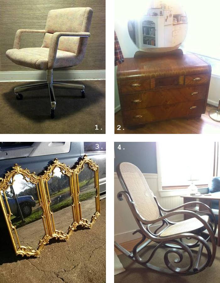 Trolling Craigslist portland vintage desk chairs mirror rocker