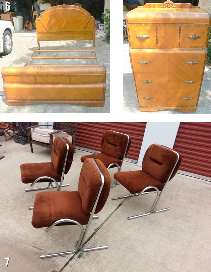 houston vintage bed set ad chairs