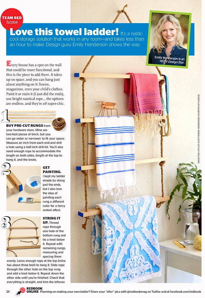 Redbook July DIY Towel Ladder