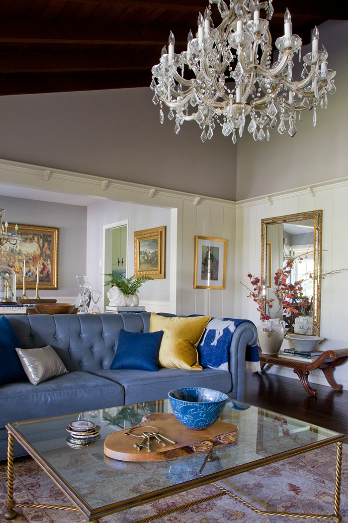 Living Room_ Chandelier Blue Chesterfield