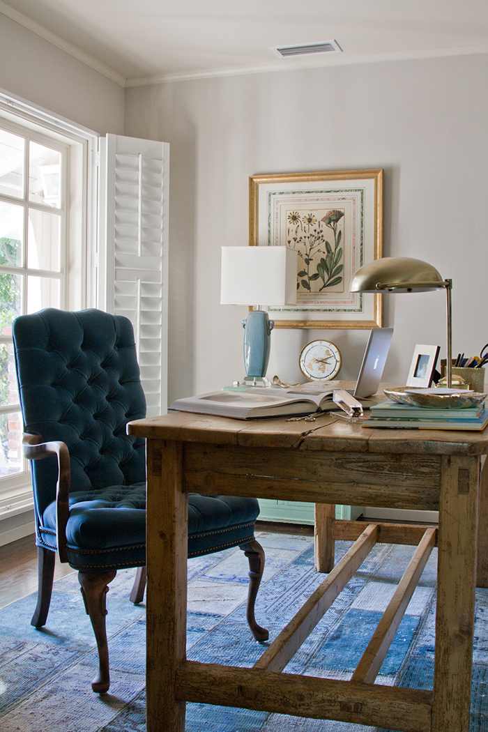 Office_Blue Chair Farmhouse table
