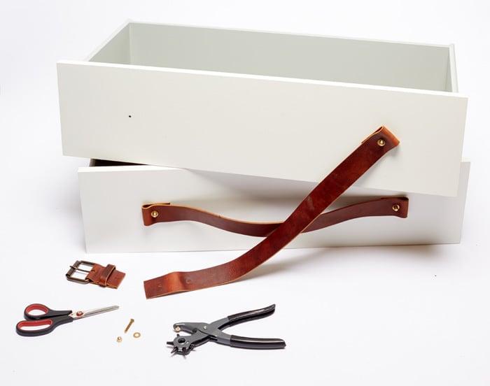 3_DIY Kitchen Island Dresser Ikea Hack_Leather Handles