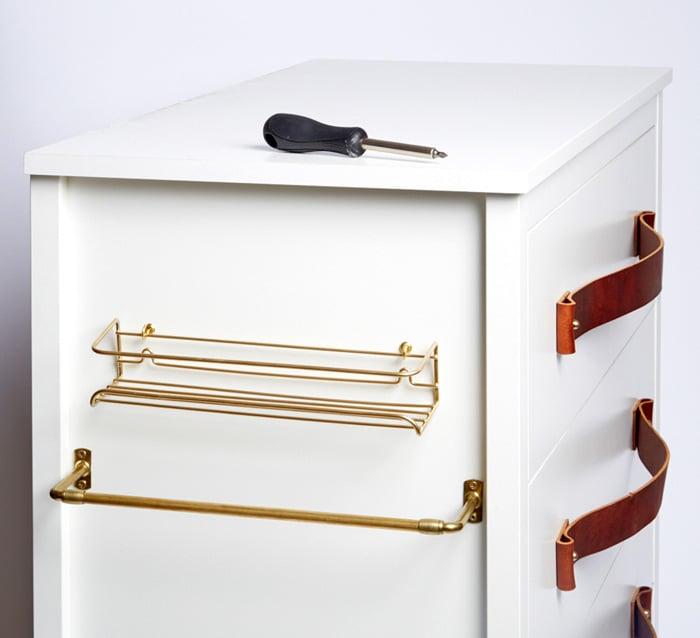 5_DIY Kitchen Island Dresser Ikea Hack Brass Accessories