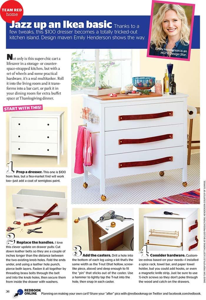 Ikea Mandal Storage Bed Review ~ DIY Dresser Kitchen Island Cart in Redbook  Emily Henderson