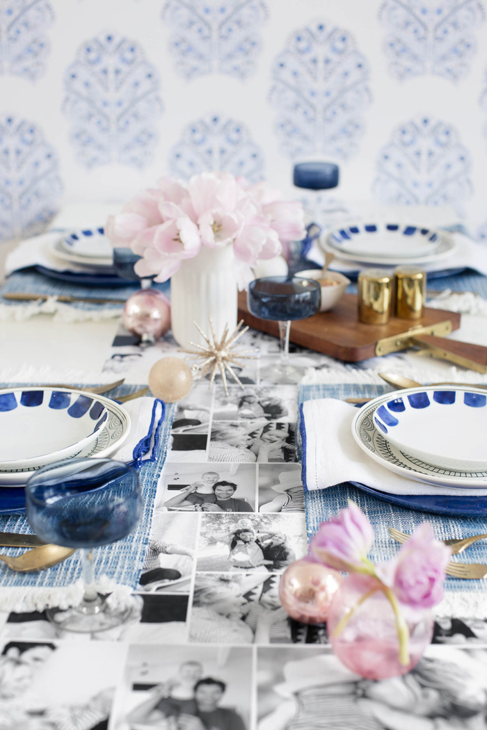 Emily Henderson Holiday Tiny Prints blue white black gold  tablescape 3