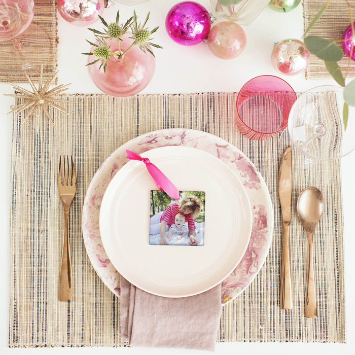 Emily Henderson Holiday Tiny Prints pink gold copper tablescape