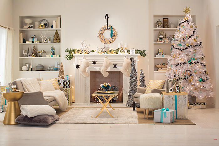 Holiday Target Emily Henderson Living Room White Gold Blue