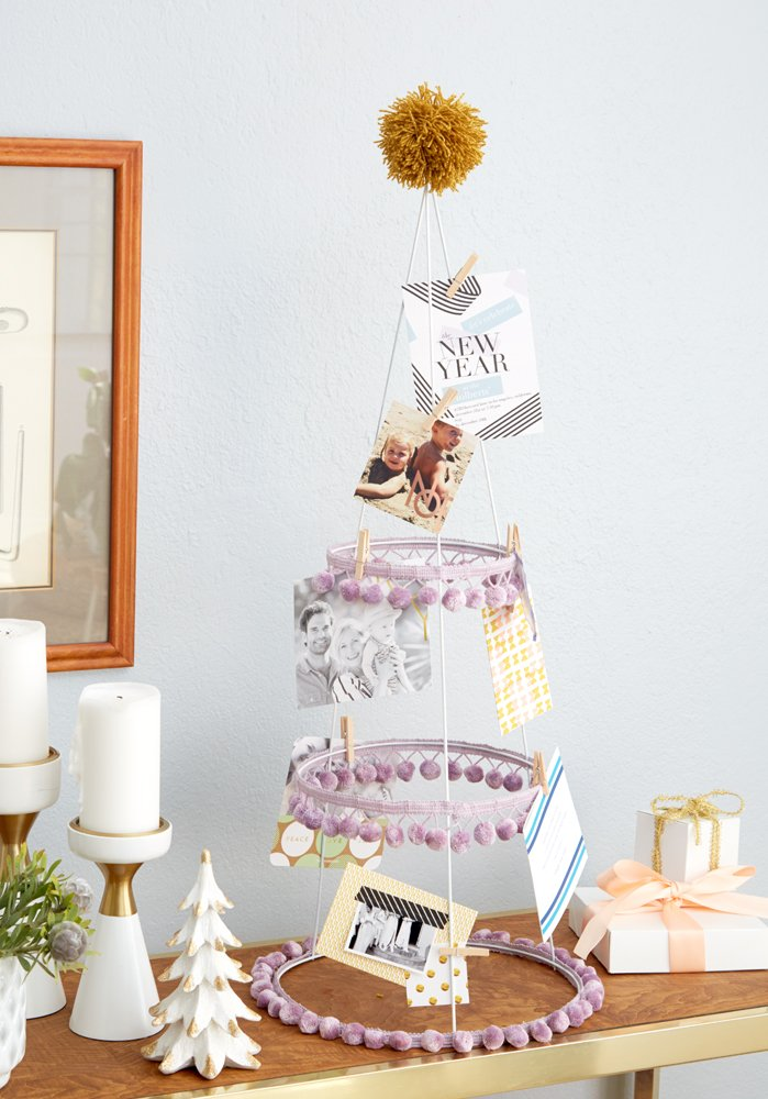 Redbook Emily Henderson DIY Holiday Card Holder Tomato Cage