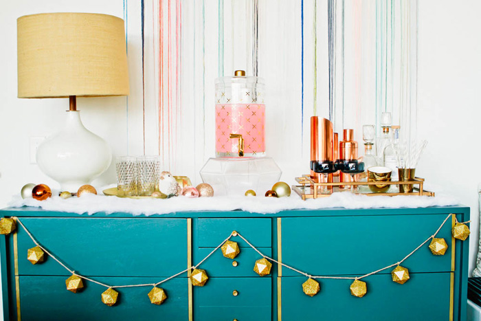 Emily Henderson Holiday Decorating Copper Gold Blue Bar6