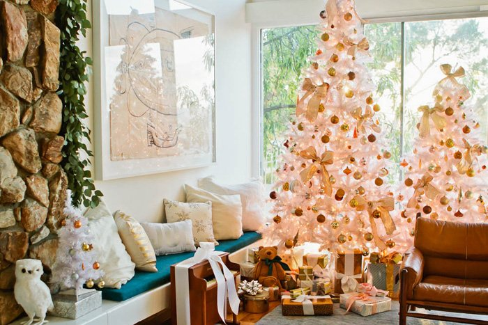 Emily Henderson Holiday Decorating Copper Gold Blue Christmas Tree White