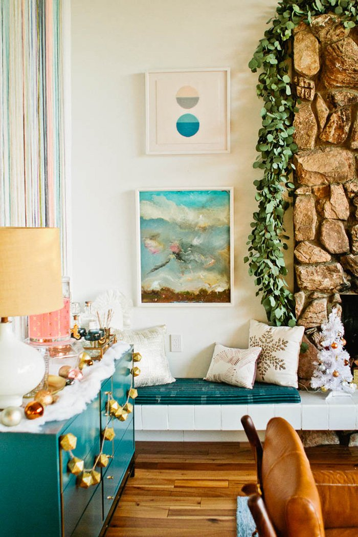 Emily Henderson Holiday Decorating Copper Gold Blue Christmas Tree White Bar7