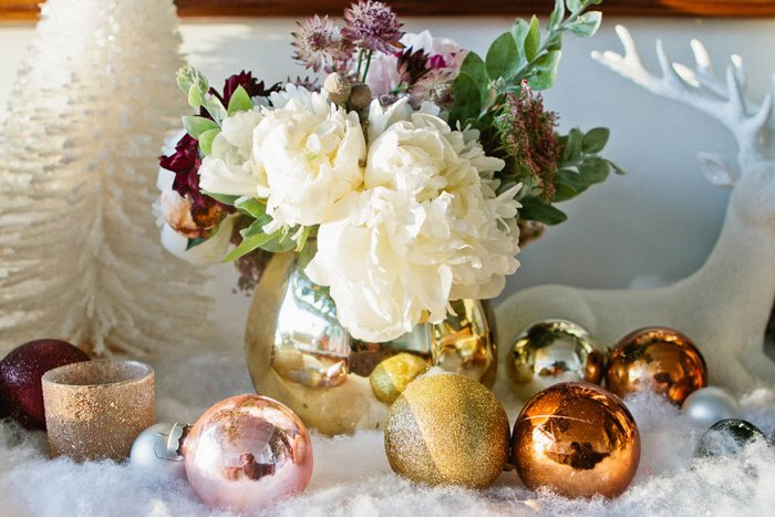 Emily Henderson Holiday Decorating Copper Gold Blue Christmas Tree White flowers1