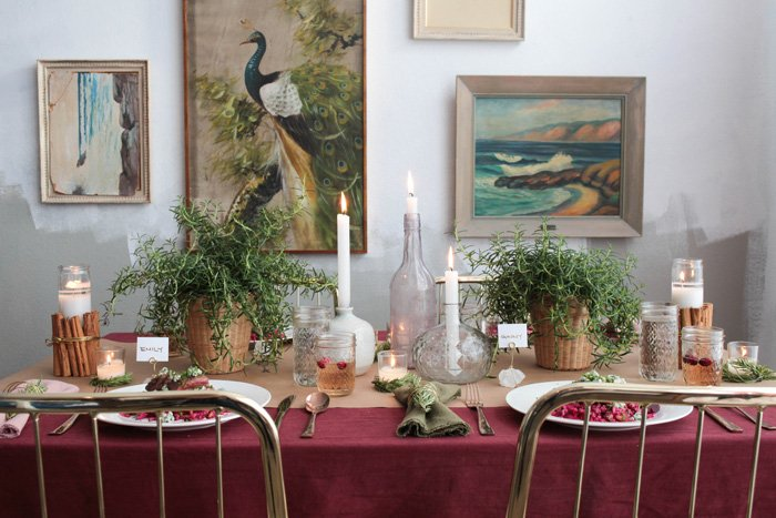 Holiday Tablescape_Emily Henderson Burgandy green gold rosemary brass christmas