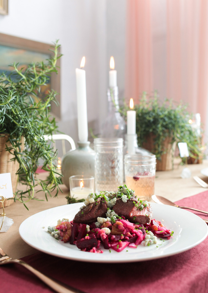 Holiday Tablescape_blue apron burgandy candles rosemary