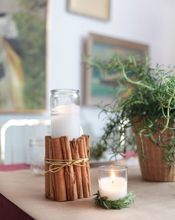 Holiday Tablescape_cinnamon candle wrap rosemary burgandy