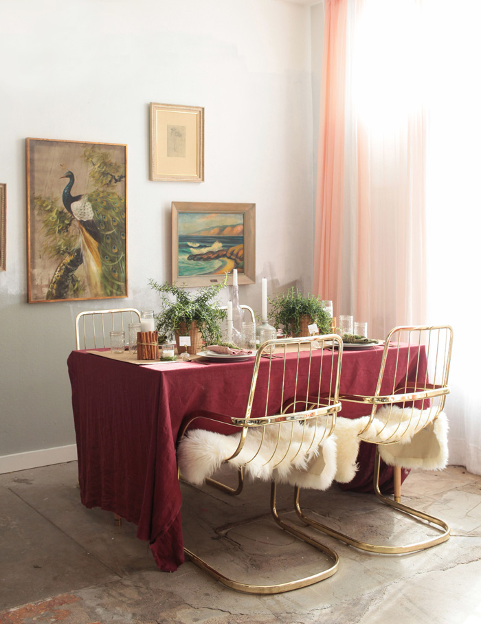 Holiday Tablescape_emily henderson burgandy rosemary gold candles