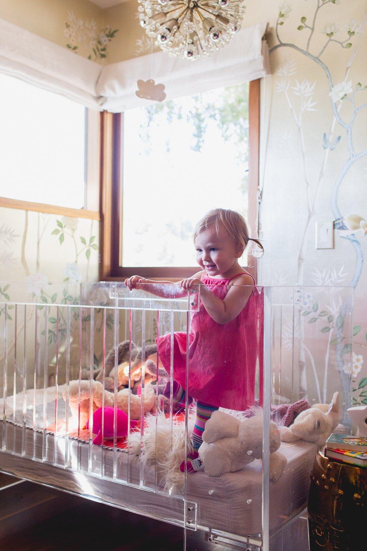 Modern Glam Nursery Lucite Metallic Childrens Room Lucite Crib 1