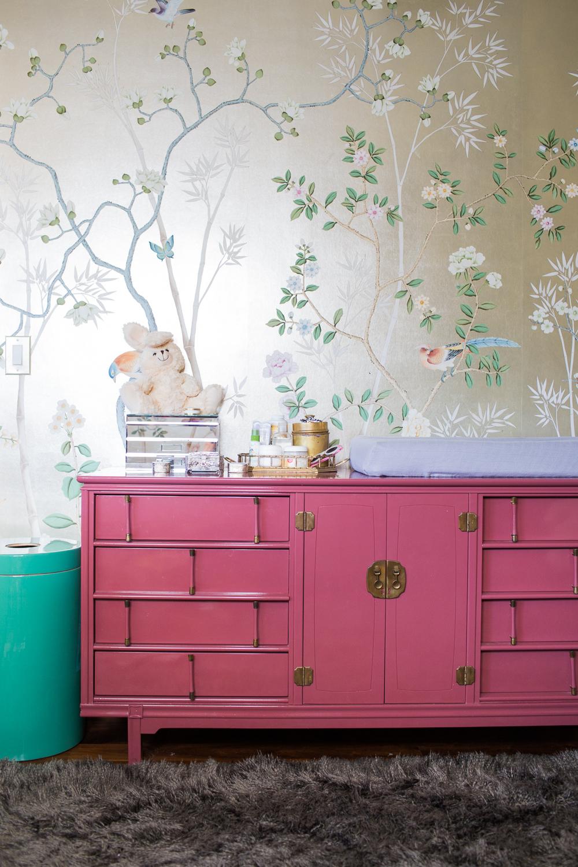 Modern Glam Nursery Lucite Metallic Childrens Room Pink Dresser
