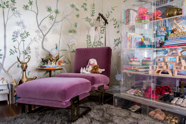 Modern Glam Nursery Lucite Metallic Childrens Room Purple Velvet Chair Lucite Bookshelf