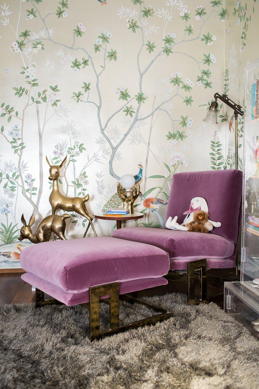 Modern Glam Nursery Lucite Metallic Childrens Room Purple Velvet Chair