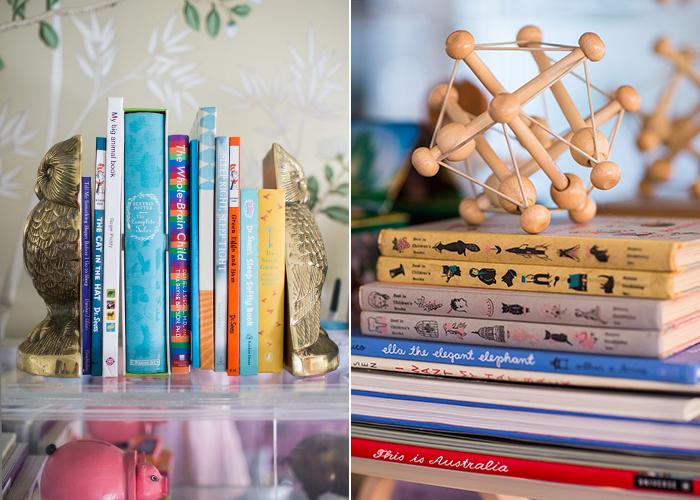 Modern Glam Nursery bookshelf lucite