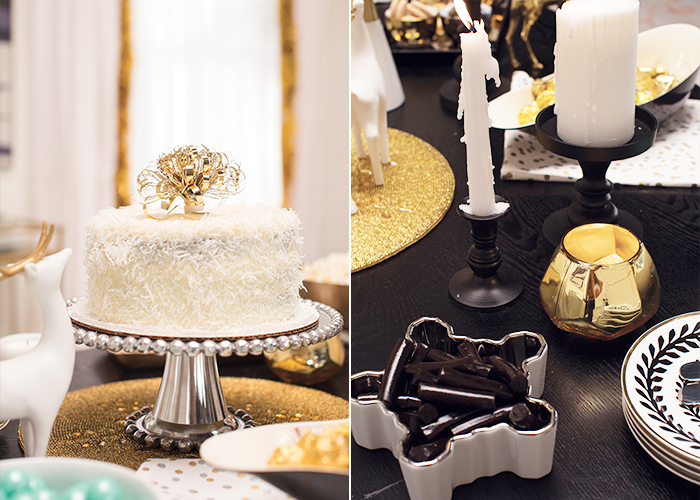 Target Holiday Emily Henderson Black White Gold Dining Room cake and plates