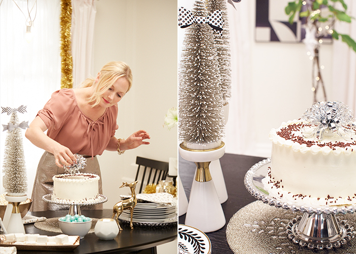 Target Holiday Emily Henderson Black White Gold Dining Room cake