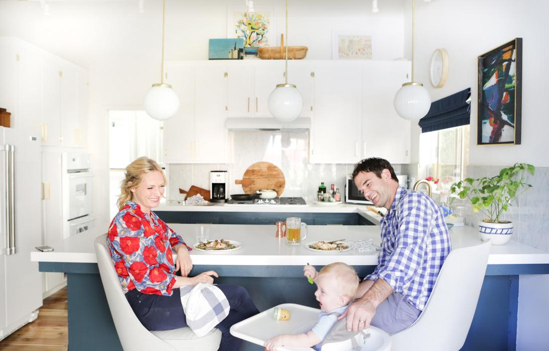 kitchen emily blue white brass family