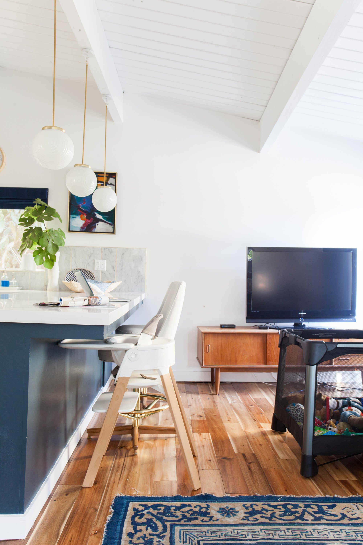 kitchen_after emily henderson blue white brass family room tv