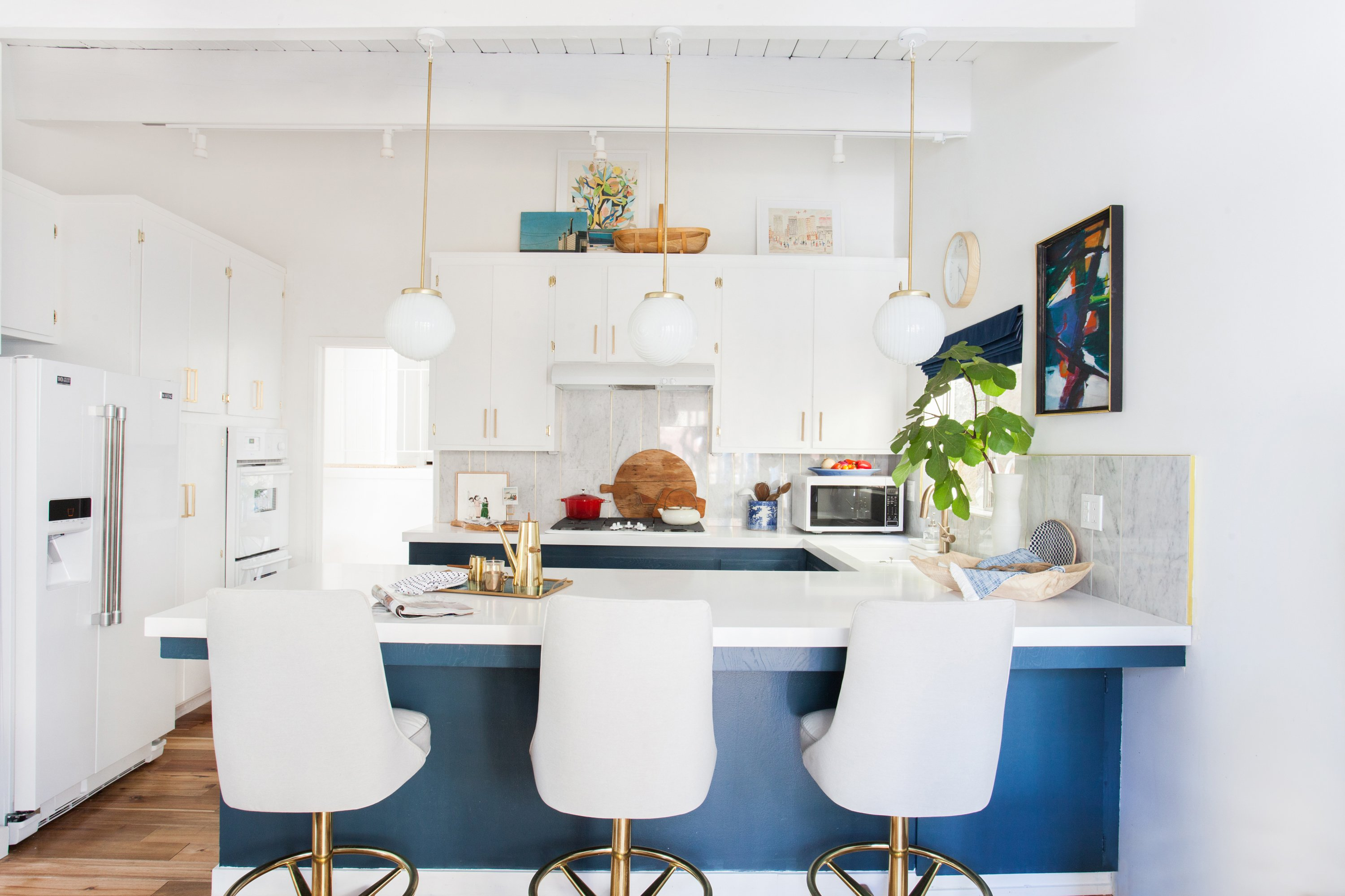 kitchen_after_emily henderson blue white brass lighting overall